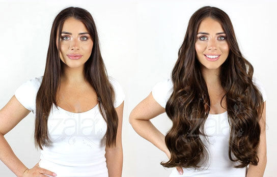 Medium brown #4 hair extensions before and after